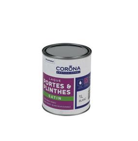Peinture portes et plinthes laque satin blanc 1L - Gedimat.fr