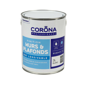 Peinture murs et plafonds mat lessivable blanc 3L - Gedimat.fr