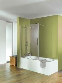 Pare-baignoire ENTRA long.100cm haut.120cm verre transparent avec barre de stabilisation mural - Gedimat.fr