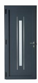 Porte d'entrée Aluminium XOEN avec isolation totale de 120mm droite poussant haut.2,00m larg.90cm laqué gris - Gedimat.fr