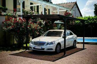 Carport NICO 1 voiture toit plat l.2,94 x L.5,00 x H.2,15 m gris anthracite - Gedimat.fr