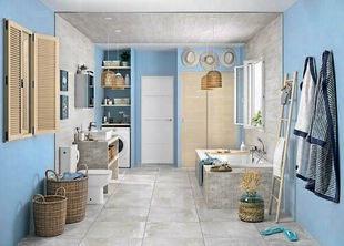 Carrelage pour sol intérieur en grès cérame émaillé RIVERSIDE dim.60x60cm coloris 60W blanc - Gedimat.fr