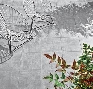 Carrelage pour sol extérieur en grès cérame émaillé SINOPE 45cmx45cm coloris Gris - Gedimat.fr