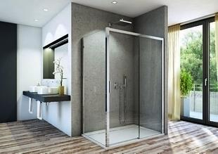 Porte coulissante 2 volets gauche LINEA long.120cm verre transparent - Gedimat.fr