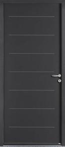 Porte d'entrée EQUATION en acier droite poussant haut.,15m larg.90cm laqué gris - Gedimat.fr