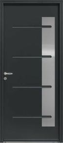 Porte d'entrée KENJI avec isolation totale de 120 mm en acier droite poussant haut.2,15m larg.90cm laqué gris 7016 - Gedimat.fr