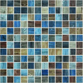 Emaux de verre de 2,5x2,5cm antidérapant WOODLAND sur trame de 31,1x31,1cm coloris oak indigo - Gedimat.fr