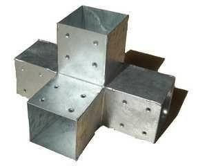 Connecteur 4D en acier galvanisé pour poteau 9x9cm dim.30x30x30cm - Gedimat.fr
