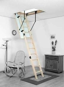 Escalier escamotable EB ENERGY en sapin trémie 120x60cm haut.2,60/2,80m avec trappe isolante - Gedimat.fr