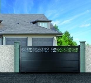 portail coulissant alabama en aluminium haut 1 60m largeur entre piliers 4 00m gris ral 7016 str. Black Bedroom Furniture Sets. Home Design Ideas