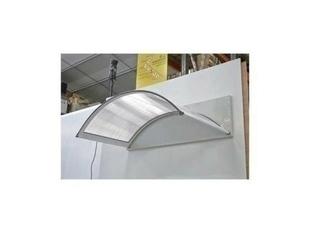 Marquise contemporaine arrondie en aluminium laqué blanc CLASSIC prof..90cm long.1,60m - Gedimat.fr