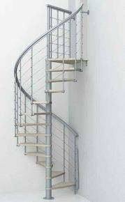 Escalier hélicoïdal NICE 5 LISSES en acier/bois diam.1,30m haut.2,61/3,065m - Gedimat.fr