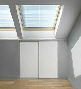 Pack  BUDGET coulissant 2 vantaux mélaminés blanc spécial sous comble haut.1,20m larg.1,20m - Gedimat.fr