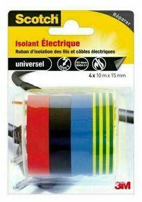 RUBAN ISOLANT ELECT.4COULEURS 4X10MX15MM - Gedimat.fr