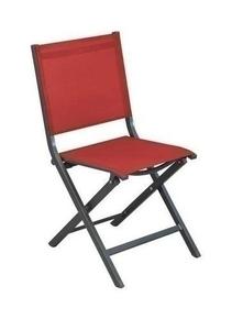 Chaise THEMA alu toile gris/rouge L.45 x H.90 x P.52 cm - Gedimat.fr