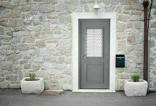 Porte d'entrée PICTO3 en aluminium gauche poussant haut.2.15m larg.90cm laqué blanc - Gedimat.fr