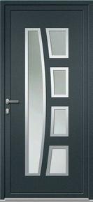 Porte d'entrée Aluminium KEOPS avec isolation totale de 160mm gauche poussant haut.2.00m larg.90cm laqué gris/blanc - Gedimat.fr