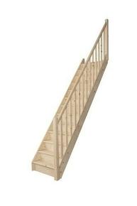 Escalier 1/4 tournant droit en kit TRADI ECO en Sapin haut.2,80m avec rampe - Gedimat.fr