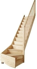 Escalier droit en kit TRADI ECO en hêtre Haut.2,80 m avec rampe - Gedimat.fr