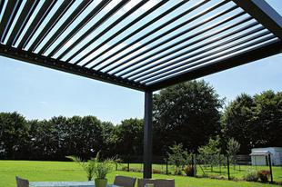 Pergola aluminium MIAMI murale à lame orientables gris 7016 sabé Larg.3 x Haut.2,55 x Prof.3,15 m - Gedimat.fr