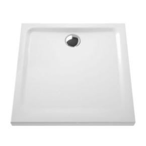Receveur carré à poser ou à encastrer ARKITEKT en céramique haut.5,5cm larg.80cm long.80cm blanc - Gedimat.fr