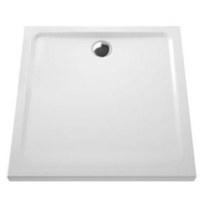 Receveur carré à poser ou à encastrer ARKITEKT en céramique Long.80cm Haut.5,5cm larg.80cm Coloris blanc - Gedimat.fr