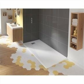 Receveur carré à poser ou à encastrer KINESURF en biocryl thermoformé Long.120cm Haut.4cm larg.80cm coloris Blanc - Gedimat.fr