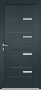 Porte d'entrée Aluminium PATNA avec isolation totale de 160mm gauche poussant haut.2.15m larg.90cm laqué gris/blanc - Gedimat.fr