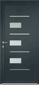 Porte d'entrée Aluminium LANHZU avec isolation totale de 160mm gauche poussant haut.2.15m larg.90cm laqué gris/blanc - Gedimat.fr