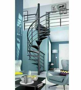 Escalier hélicoïdal OSLO diam 122cm en acier Gris 7024 Grainé - Gedimat.fr