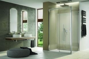 Porte coulissante 2 volets gauche LINEA long.120cm haut.200cm verre transparent - Gedimat.fr