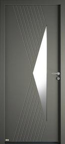 Porte d'entrée CYTISS 10 en aluminium laqué gauche poussant haut.2,15m larg.90cm - Gedimat.fr
