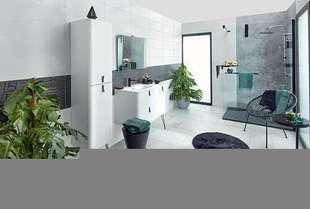 Colonne de salle de bains UNIIQ Long.35cm Haut.150cm larg.35cm Coloris blanc poignées noirs - Gedimat.fr