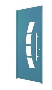 Porte d'entrée TARA en aluminium laqué droite poussant haut.2.15 m larg.90 cm gris 7016 - Gedimat.fr