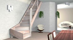 Escalier 1/4 tournant droit en hêtre lamellé collé avec rampe à lisses aluminium haut. sol à sol 2,80m  - Gedimat.fr