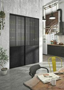 Kit Porte atelier acier noir verre blanc et rail acier noir haut.250 cm larg. 60.8cm - Gedimat.fr