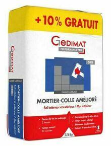 Mortier colle améliore gris Gédimat en 25kg + 10% gratuit - Gedimat.fr