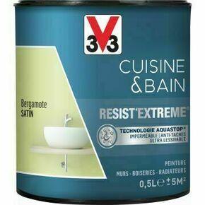 Peinture RESIST EXTREME cuisine/bain satin rouge carmen  - pot 0,5l - Gedimat.fr