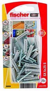 Cheville nylon avec collerette+vis SX S NV - 5x25mm - blister de 25 pièces - Gedimat.fr