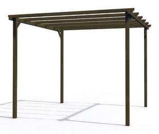 Pergola bois eco 3x3m poteau de 90x90mm marron - Gedimat.fr