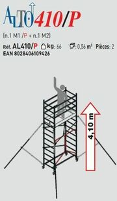 Echafaudage ALTO en aluminium base pliante - 4,10m - Gedimat.fr