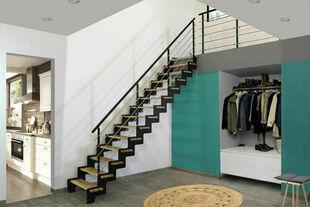 Escalier droit Crémaillère en Hêtre brut 2m75 - Gedimat.fr