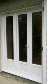 Porte fenêtre PVC blanc VISION isolation totale 120mm 3 vantaux ouverture à la française grand vitrage haut.2,15m larg.1,80m à serrure - Gedimat.fr
