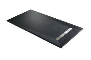 Receveur à poser ou à encastrer en résine PRISMA SLATE Long.120cm larg.90cm coloris Noir - Gedimat.fr