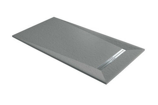 Receveur à poser ou à encastrer en résine PRISMA SLATE Long.120cm larg.90cm coloris Cemento - Gedimat.fr