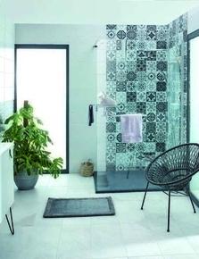 Panneaux d'habillage EASYSTYLE Barcelona  Tiles noir/Blanc 100x255cm - Gedimat.fr