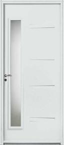 Porte d'entrée AKITA en acier finition blanche droite poussant haut.2,15 m larg.90 cm dormant 120mm - Gedimat.fr