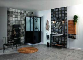 Cabine de douche carrée ARTELO Long. 90cm Larg.90cm Haut. 220cm Noir - Gedimat.fr