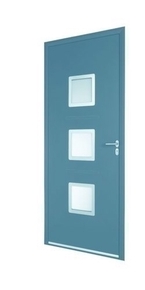 Porte d'entrée KERALA en aluminium laqué gauche poussant haut.2,15m larg.90cm gris/blanc - Gedimat.fr