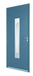 Porte d'entrée ASSAM en aluminium laqué gauche poussant haut.2,15m larg.90cm gris/blanc - Gedimat.fr